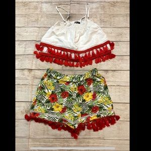 Bebe tropical matching top and bottom set